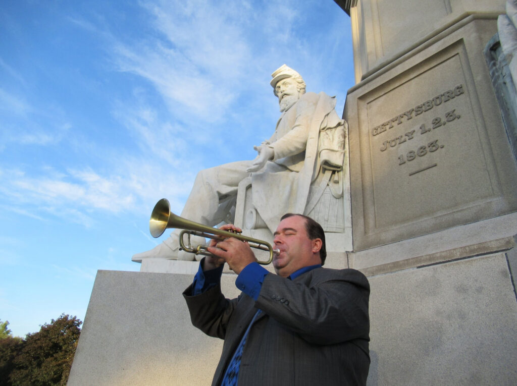 Vince Pettinelli sounding Taps at Gettysburg National Cemetery