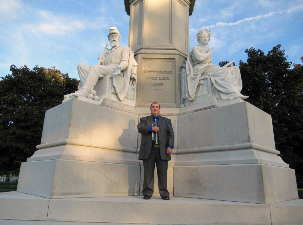 Vince Pettinelli at the Soldiers' Monument in Gettysburg